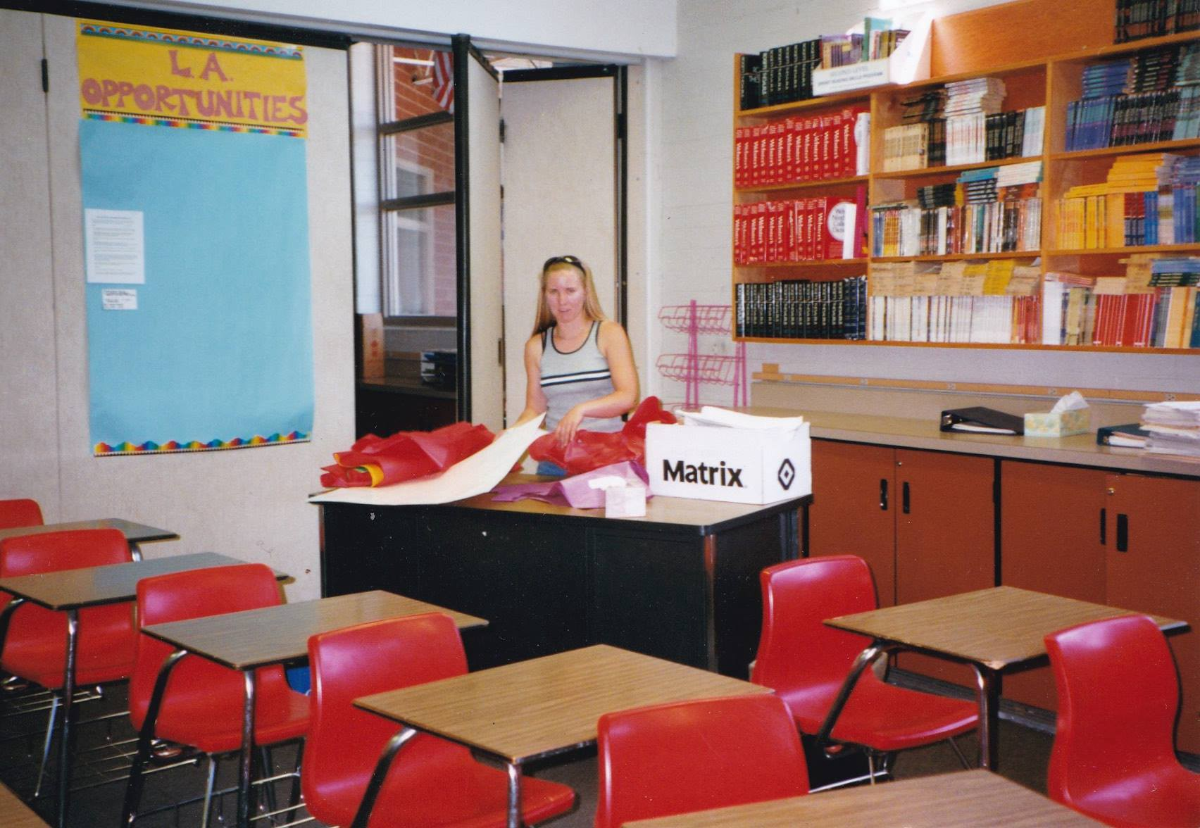 The author in her first classroom before the start of the school year
