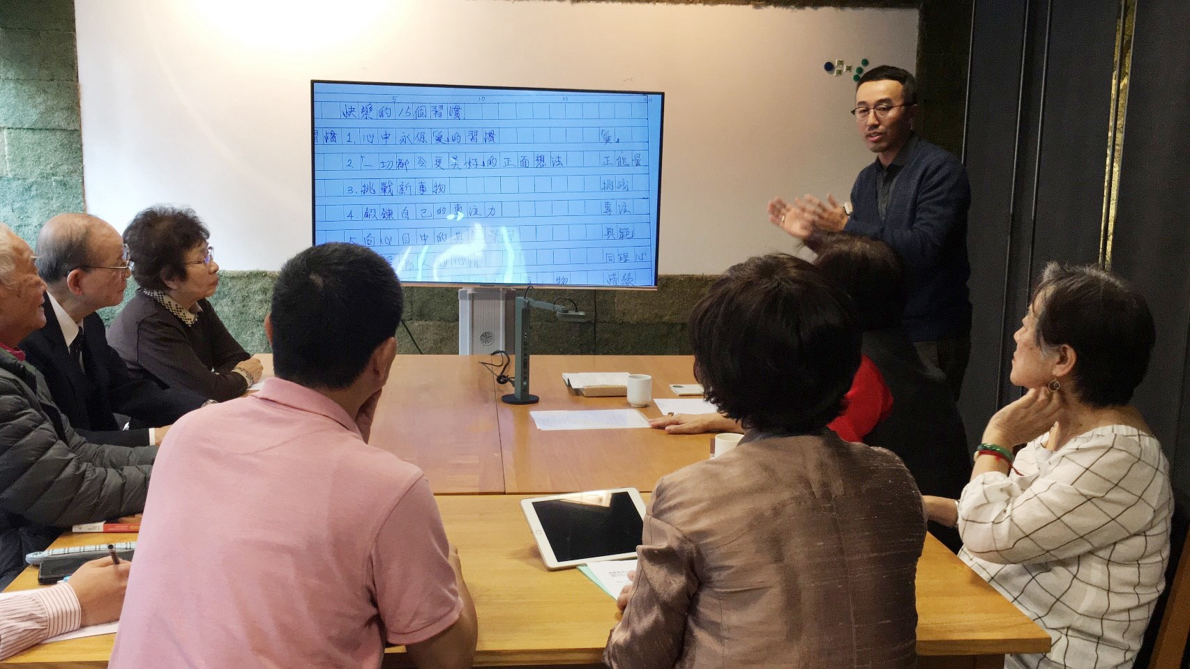 A routine session kick-starts with the introduction of VZ-R document camera