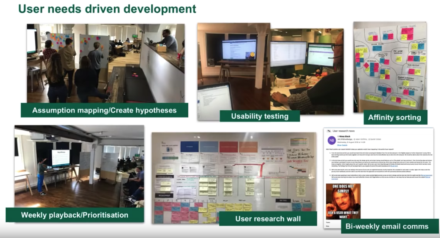 Slide showing various stages of the work