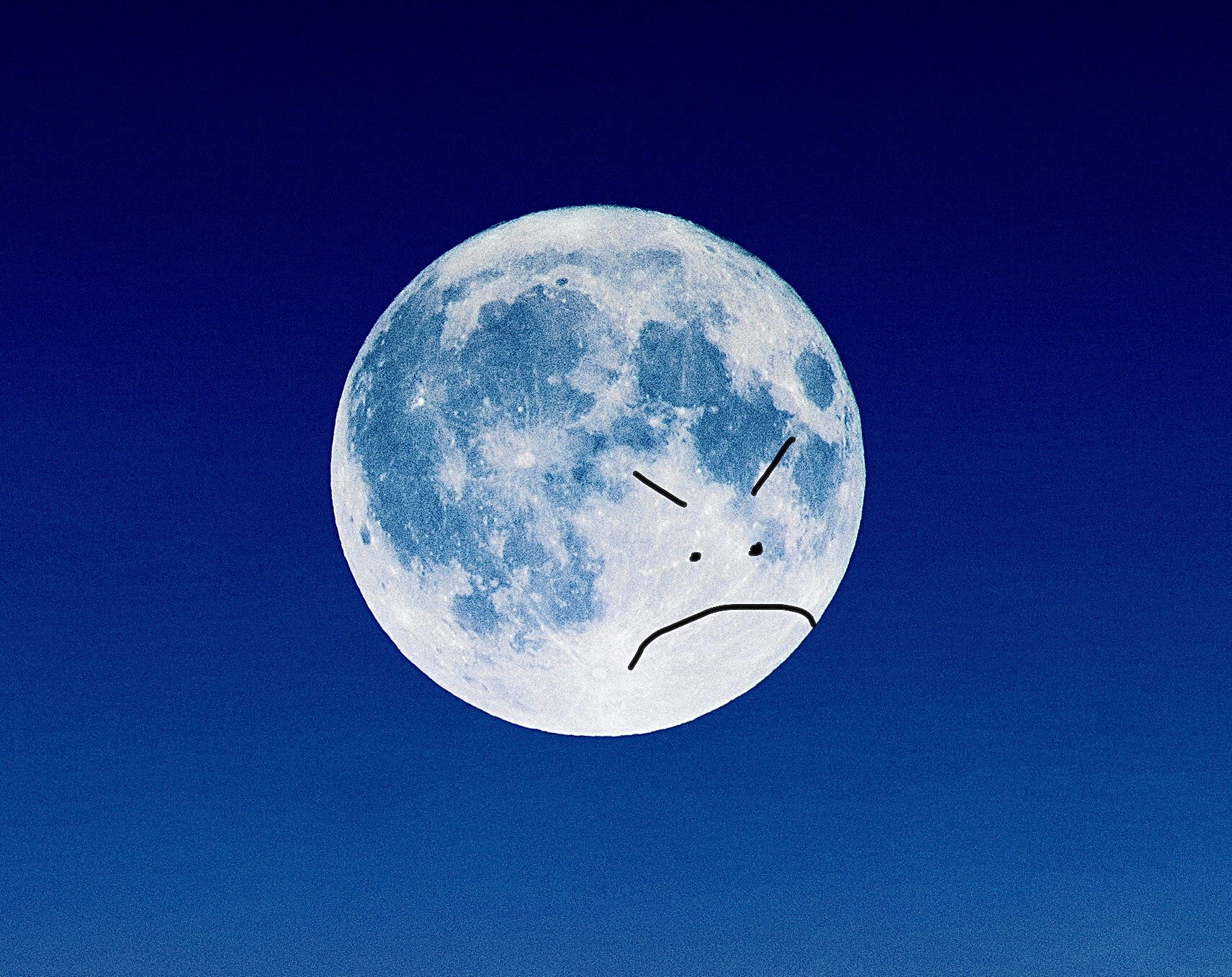 The moon is sad because it was hexed by TikTok witches.
