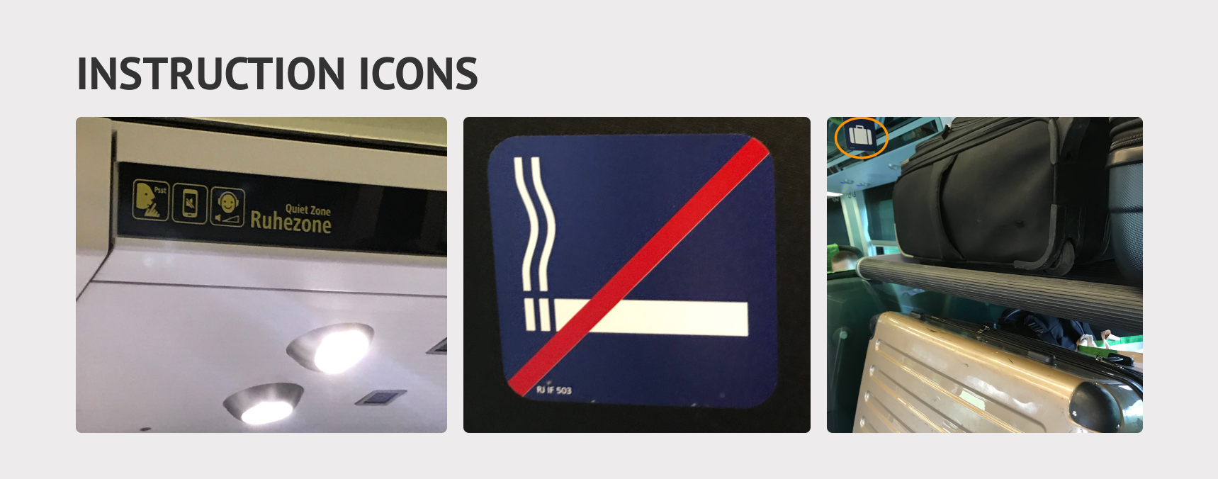 Quiet Zone, no smoking, and luggage area icons on the train.