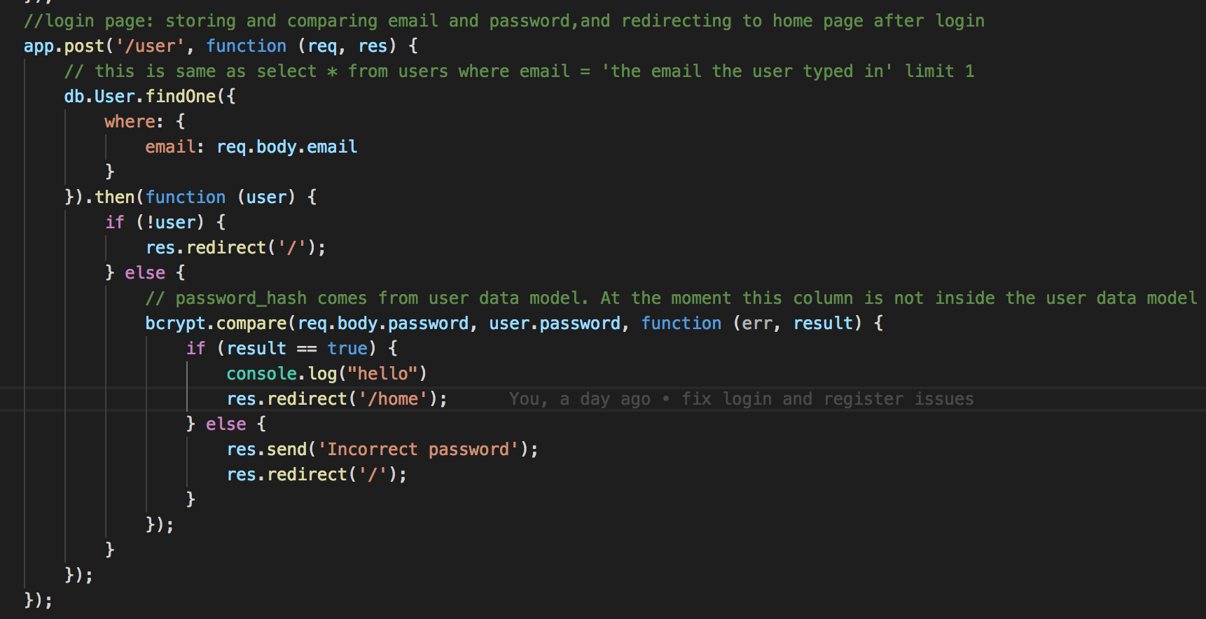 A quick guide for Authentication using 'bcrypt' on Express