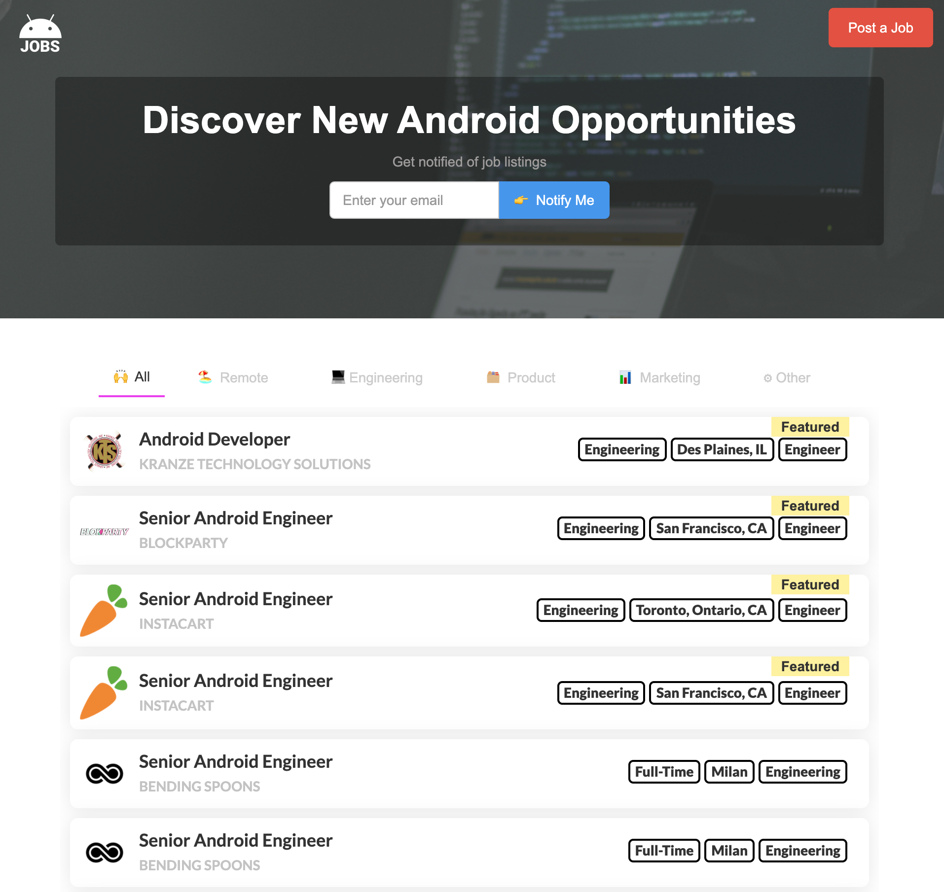 Android Jobs homepage