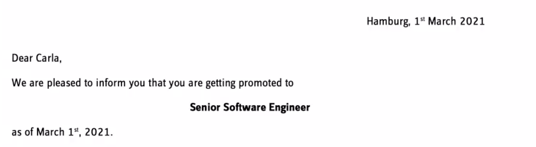 The letter I received from the company promoting me to Senior Software Engineer