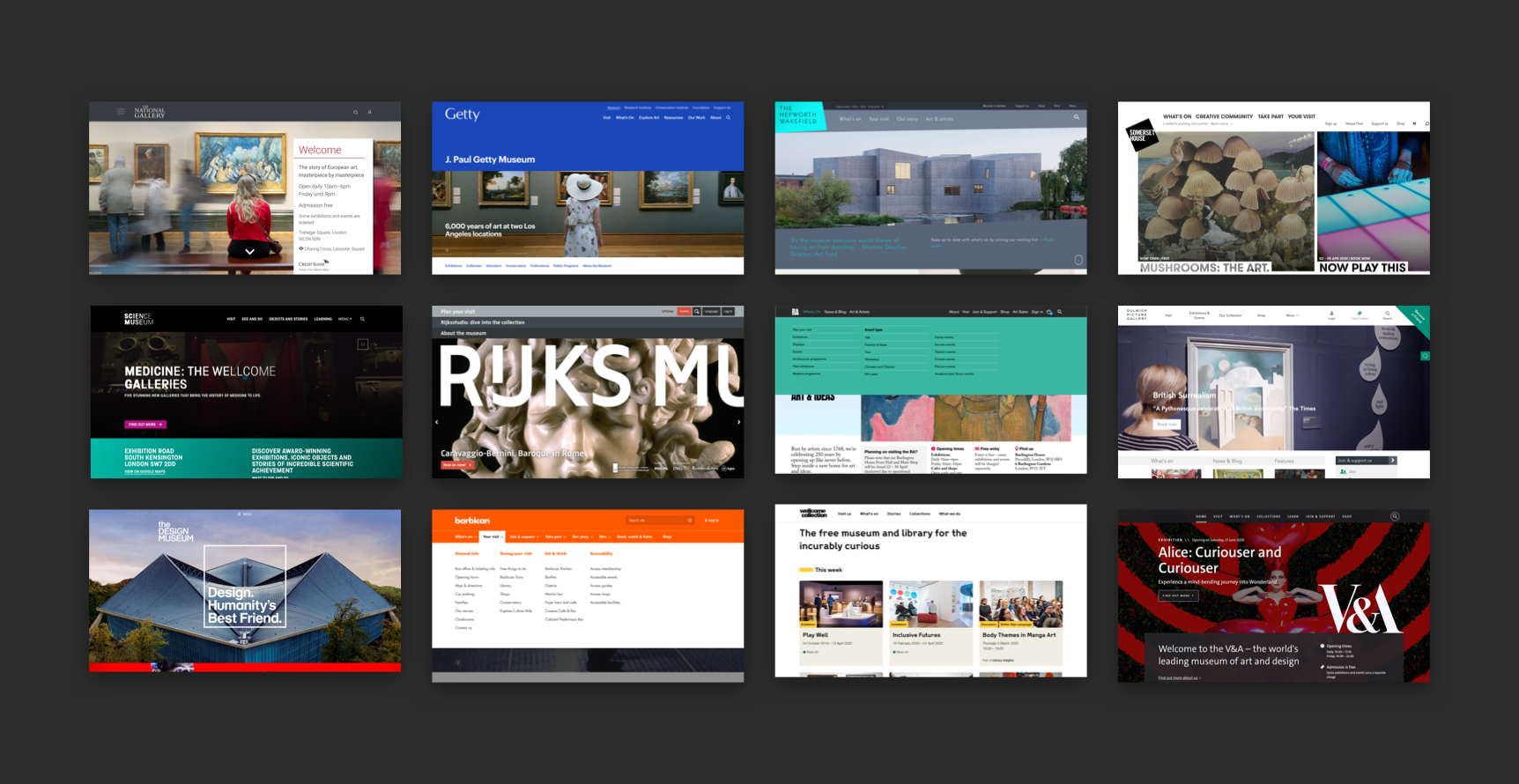 A collection of museum homepages
