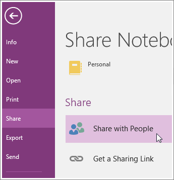 OneNote share with people