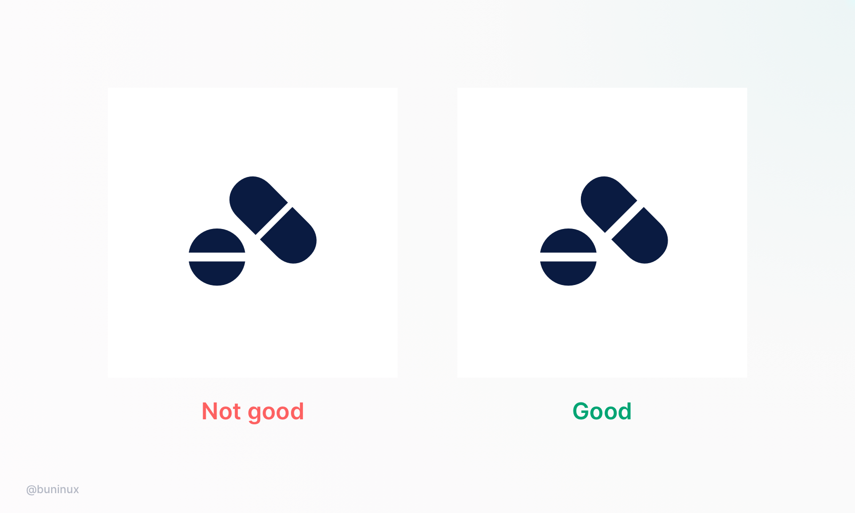 Equal spacing in icons