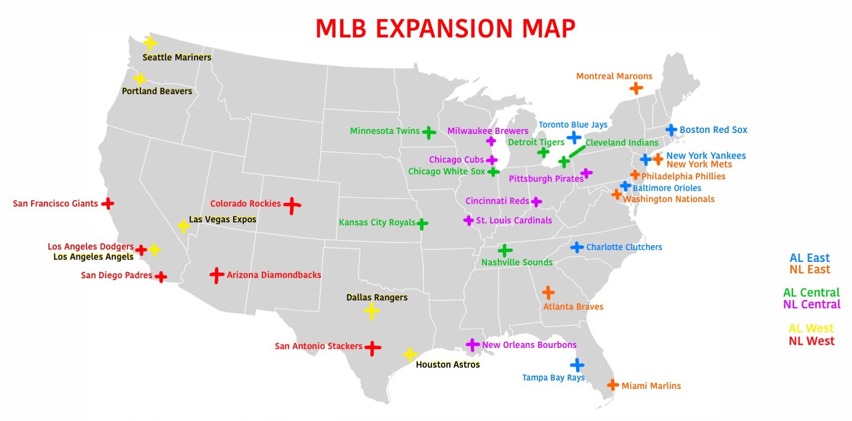This MLB Expansion Map Just Makes Sense - Chris6d - Medium