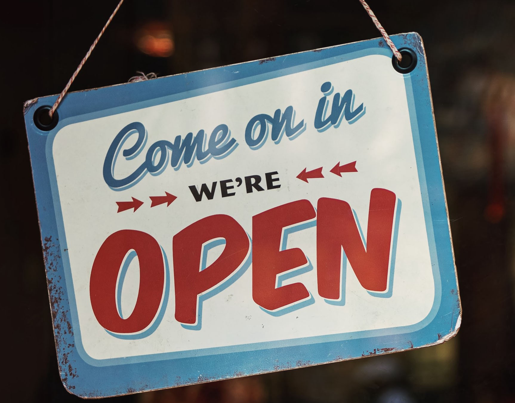 Come on in. We are open.