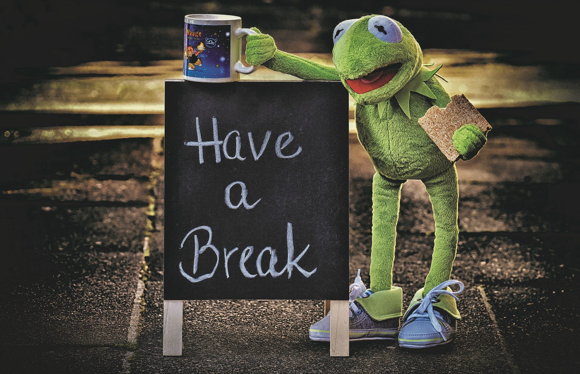 Kermit the Frog next to a blackboard that says Have a Break