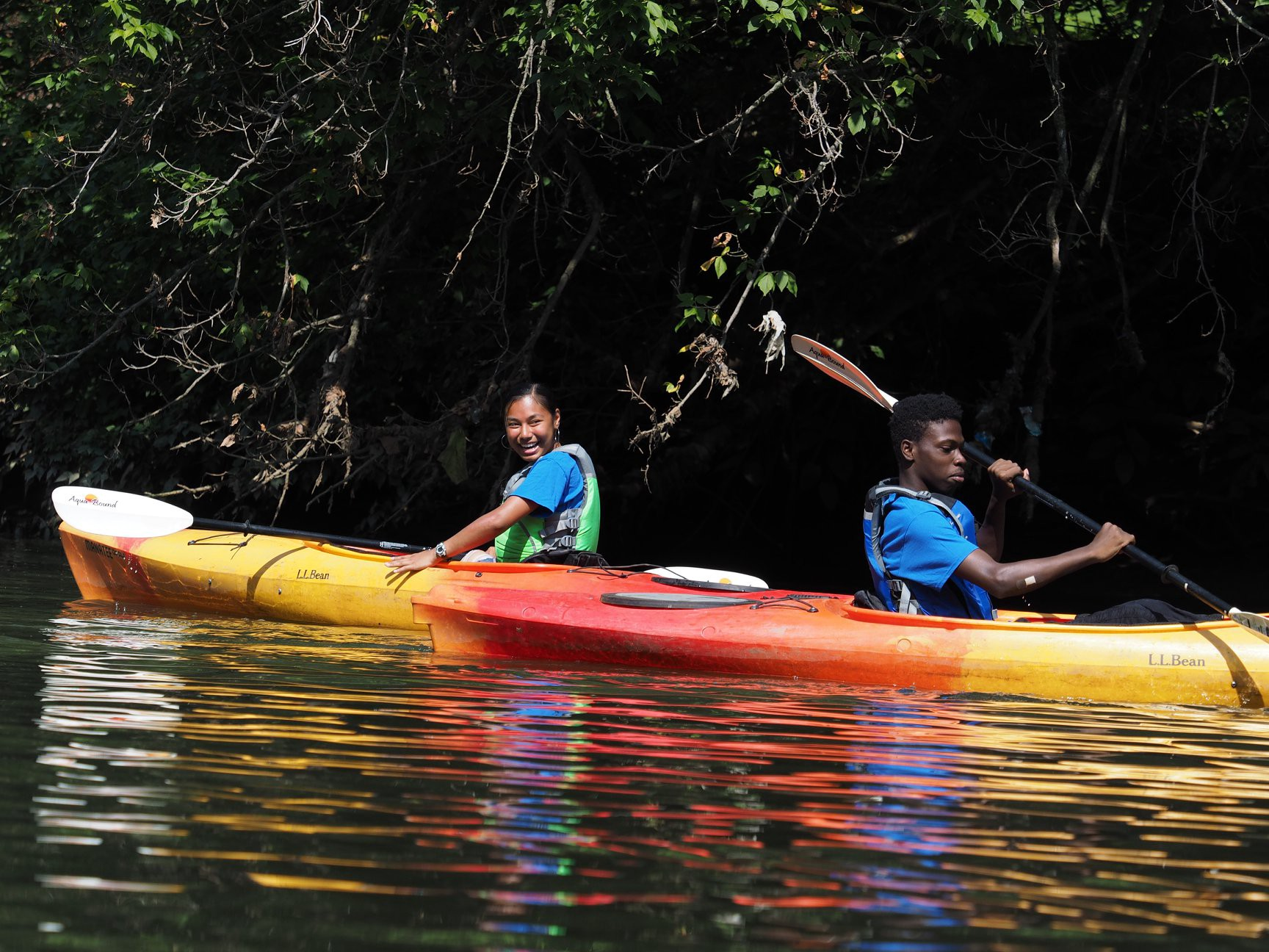 2 Kayakers near tree-filled shore