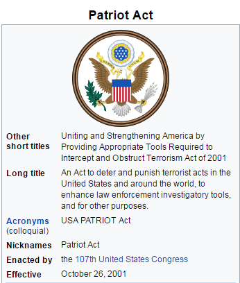 Image result for president george bush signed the patriot act