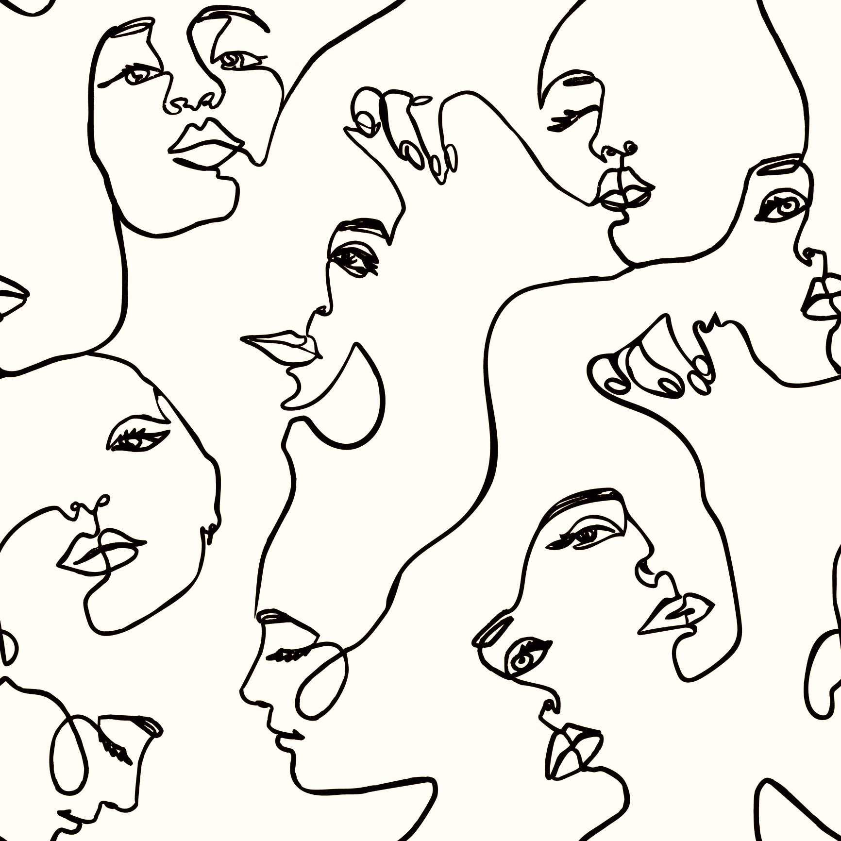 An illustration of various female faces in a seamless pattern.
