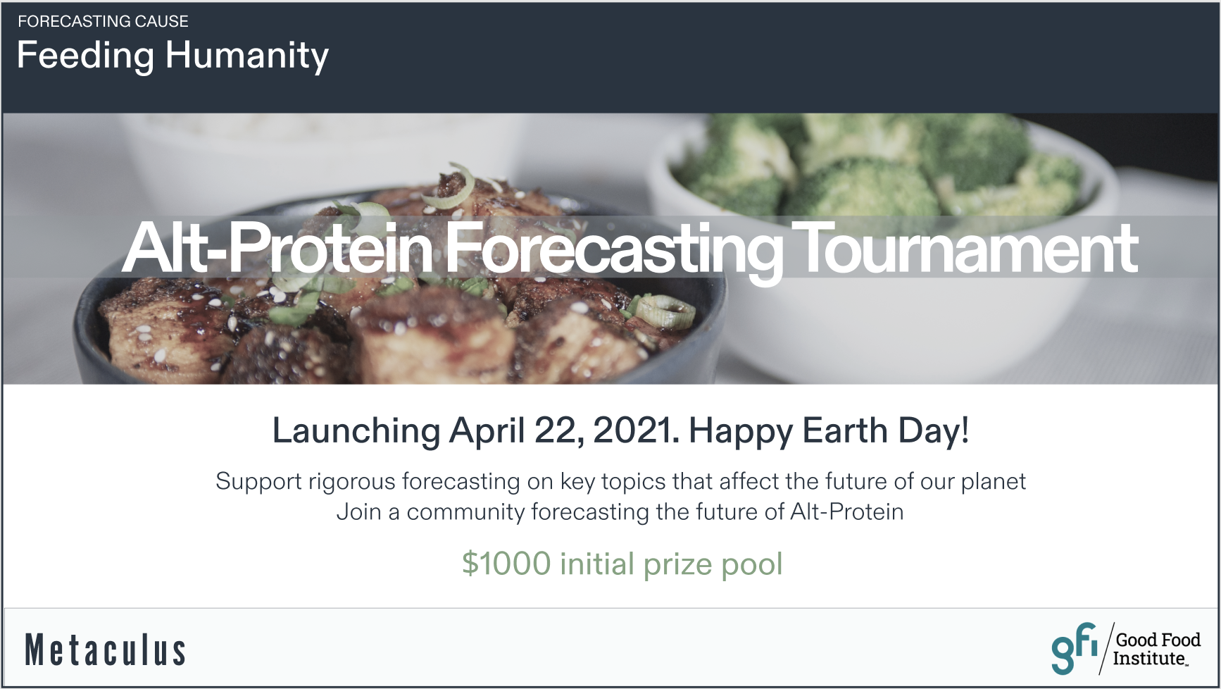 Alt-Protein Forecasting Tournament, Launching April 22, 2021. Happy Earth Day!