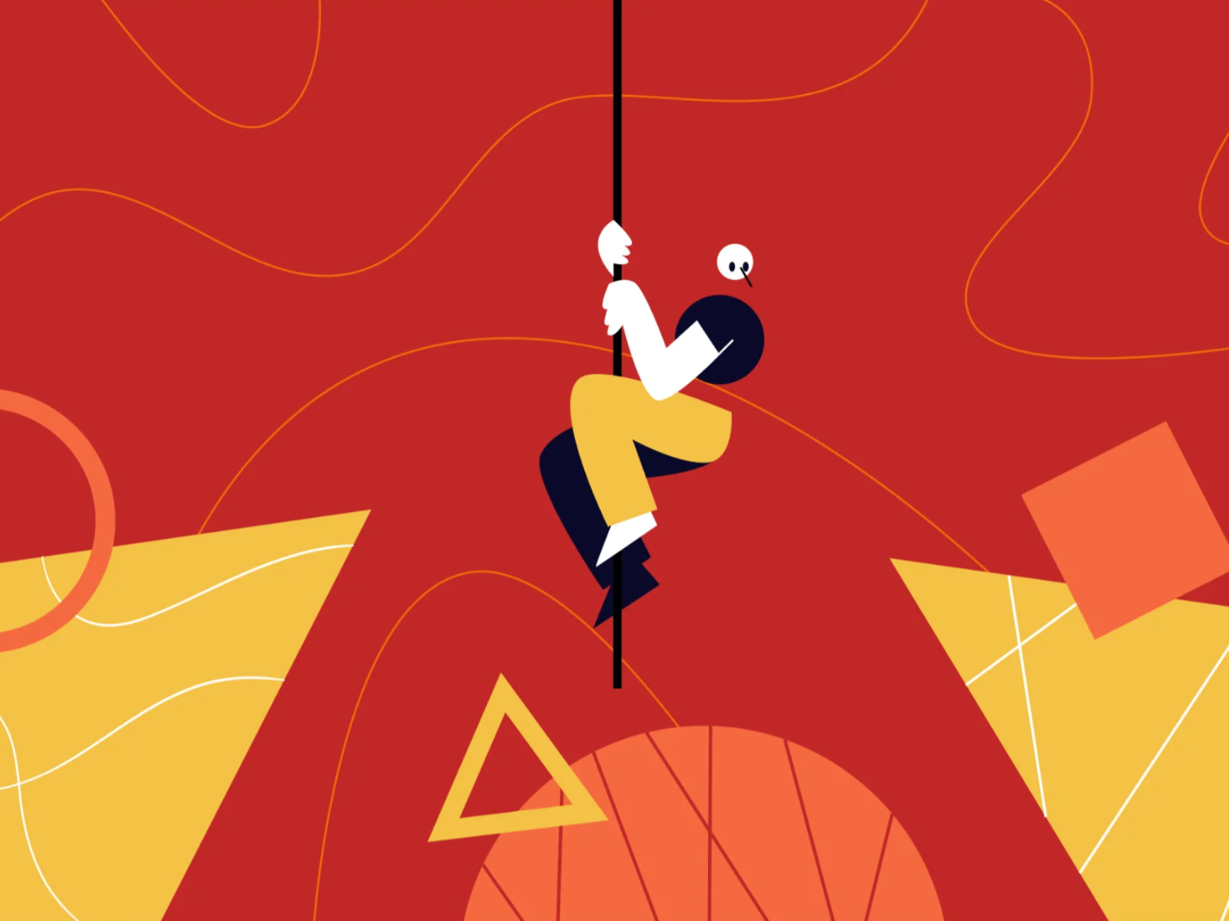 Illustration of human figure climbing down a rope coming from the top of the frame towards the bottom