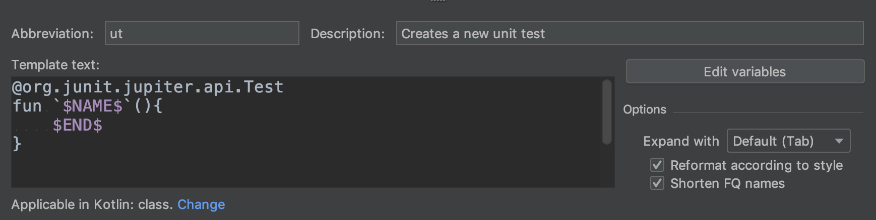 IntelliJ Live Template Ideas for JUnit 5 Tests - Noteworthy