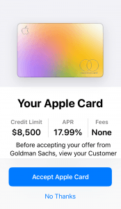 Your Apple Card - Accept Apple Card screenshot