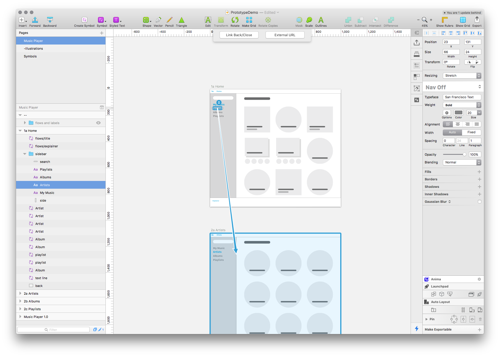 Basic Navigation with Sketch and Invision's Craft Prototype