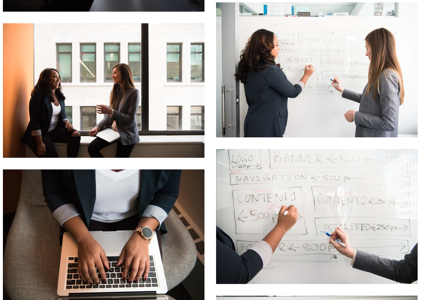 Example of stock photography showing several images of women in business settings writing on whiteboards and typing.