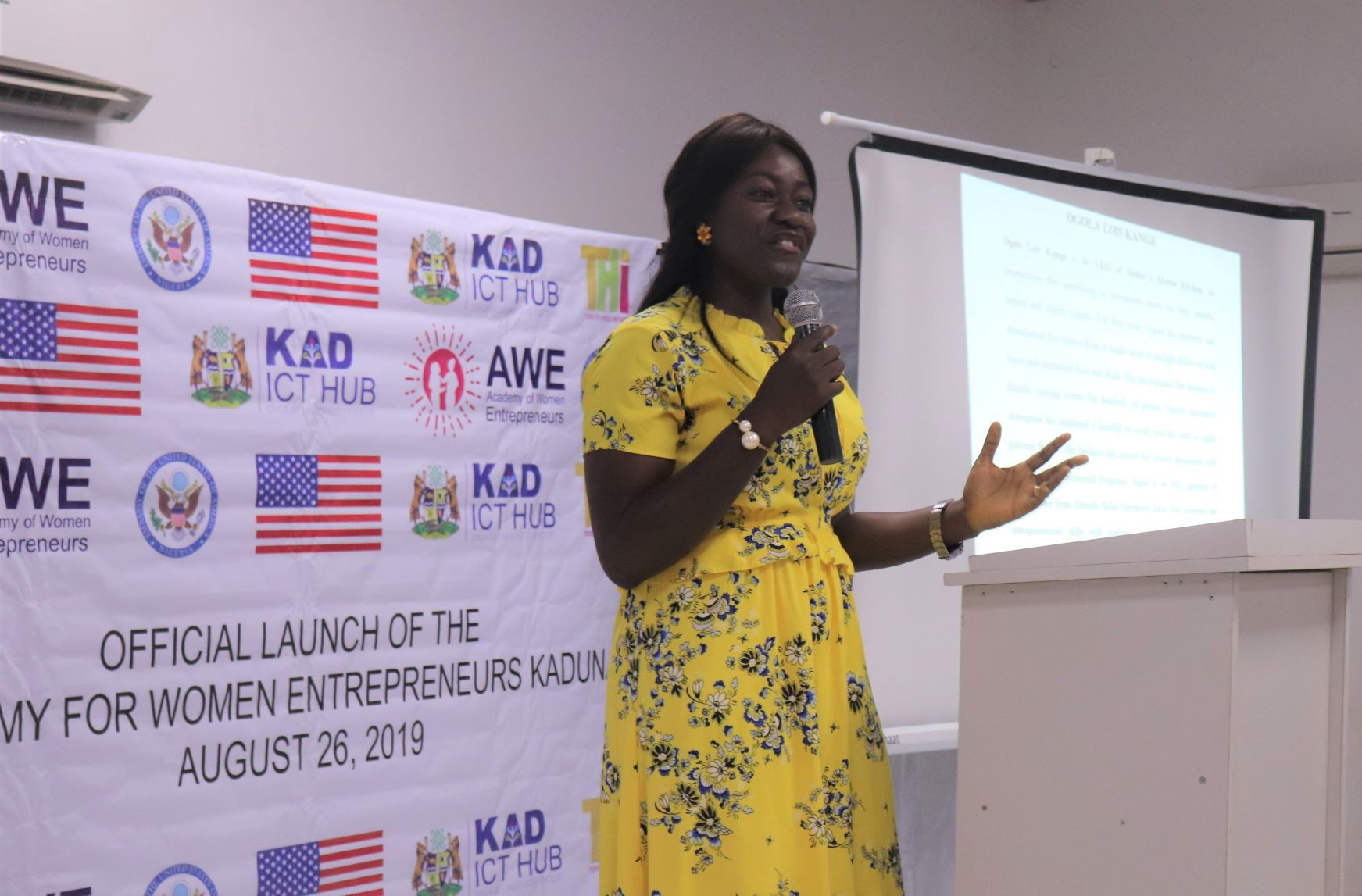 Lois Ogola speaking at the Launch of Academy for Women Entrepreneurs Kaduna in August 2019