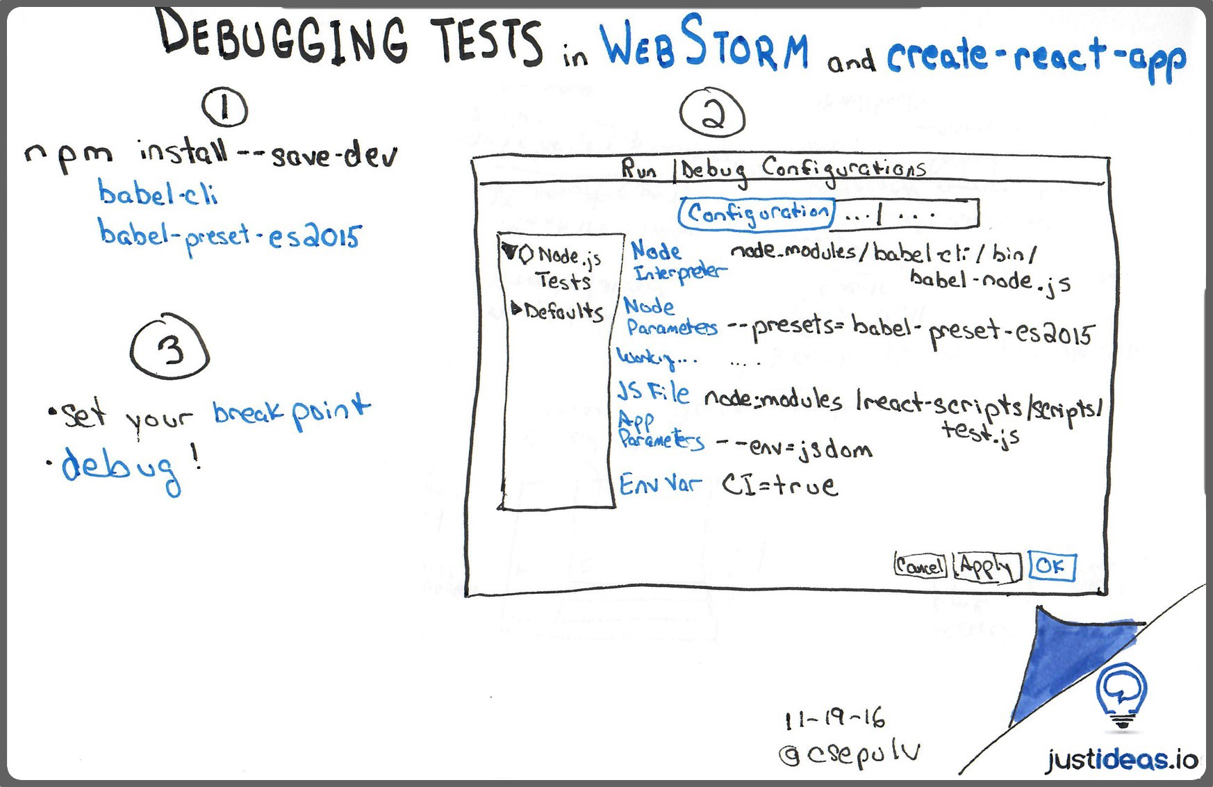 Debugging tests in WebStorm and create-react-app - justideas