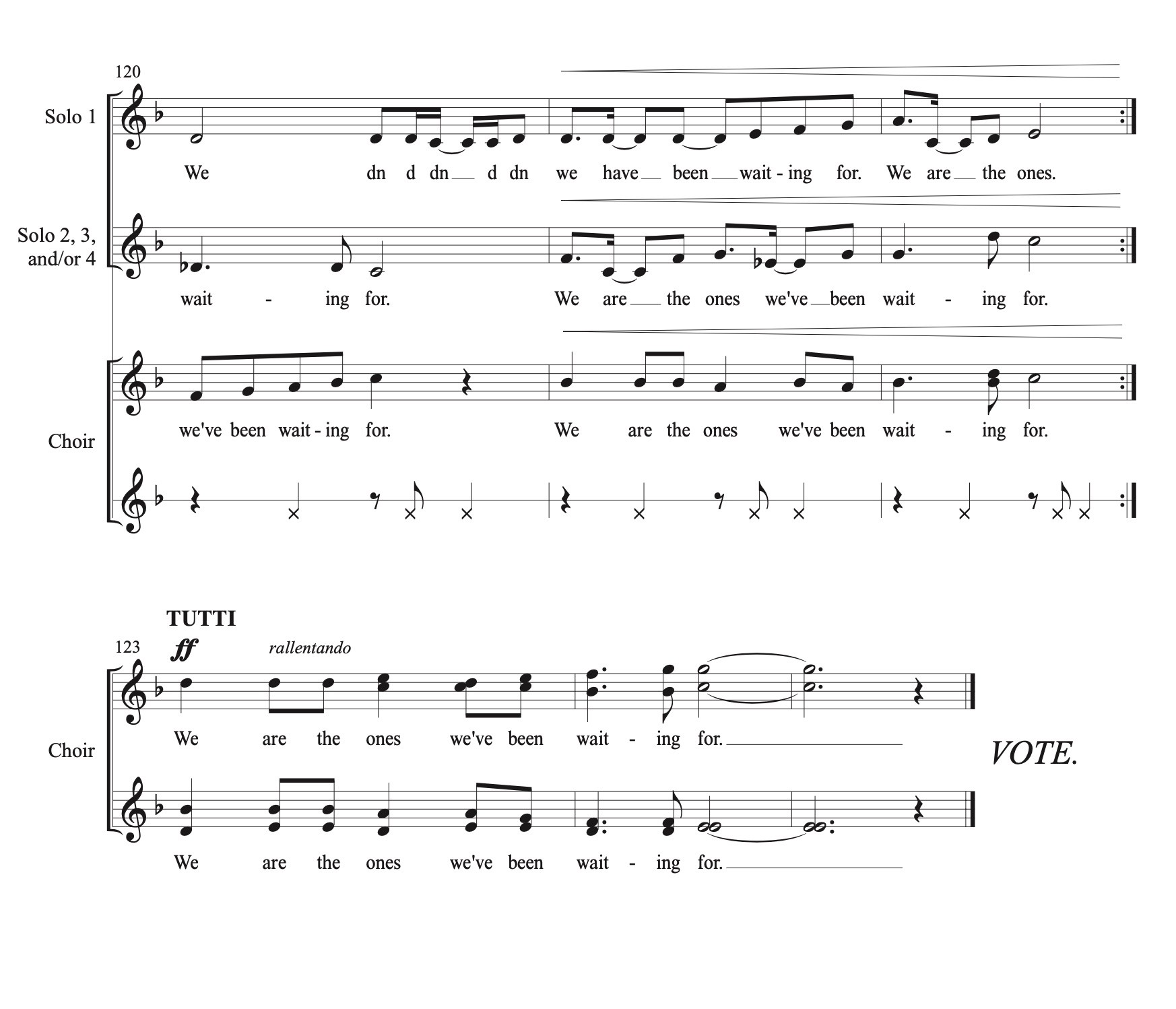 Excerpt from the end of the sheet music showing overlapping voices coming together in 4-part harmony