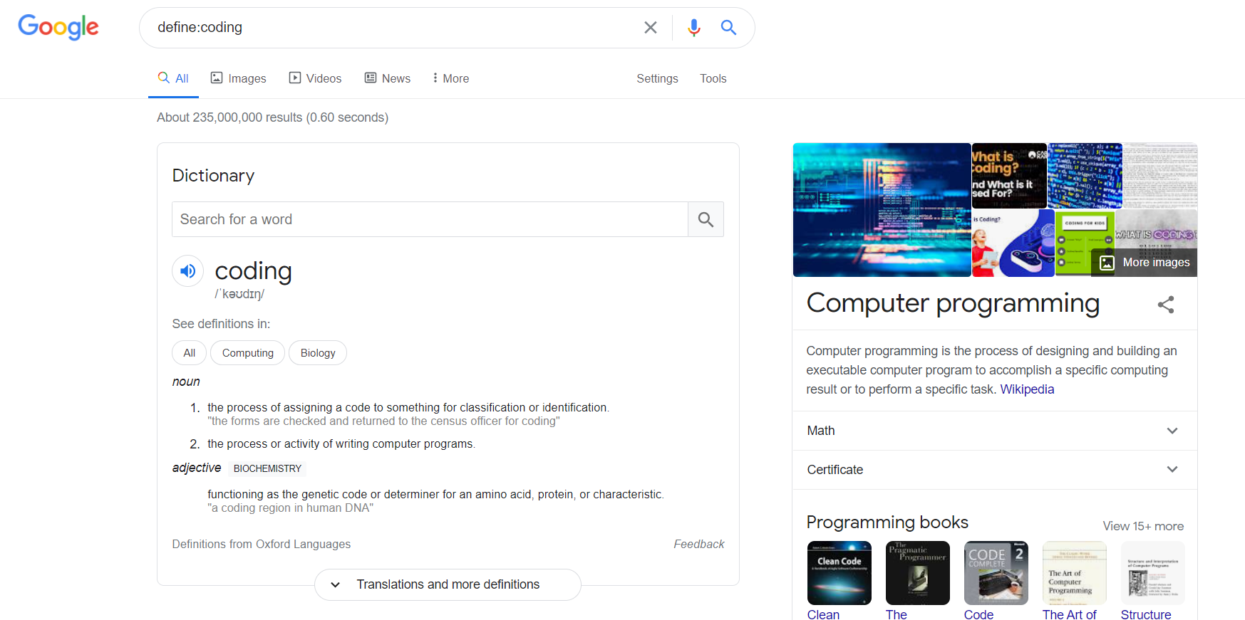 Search with define: operator