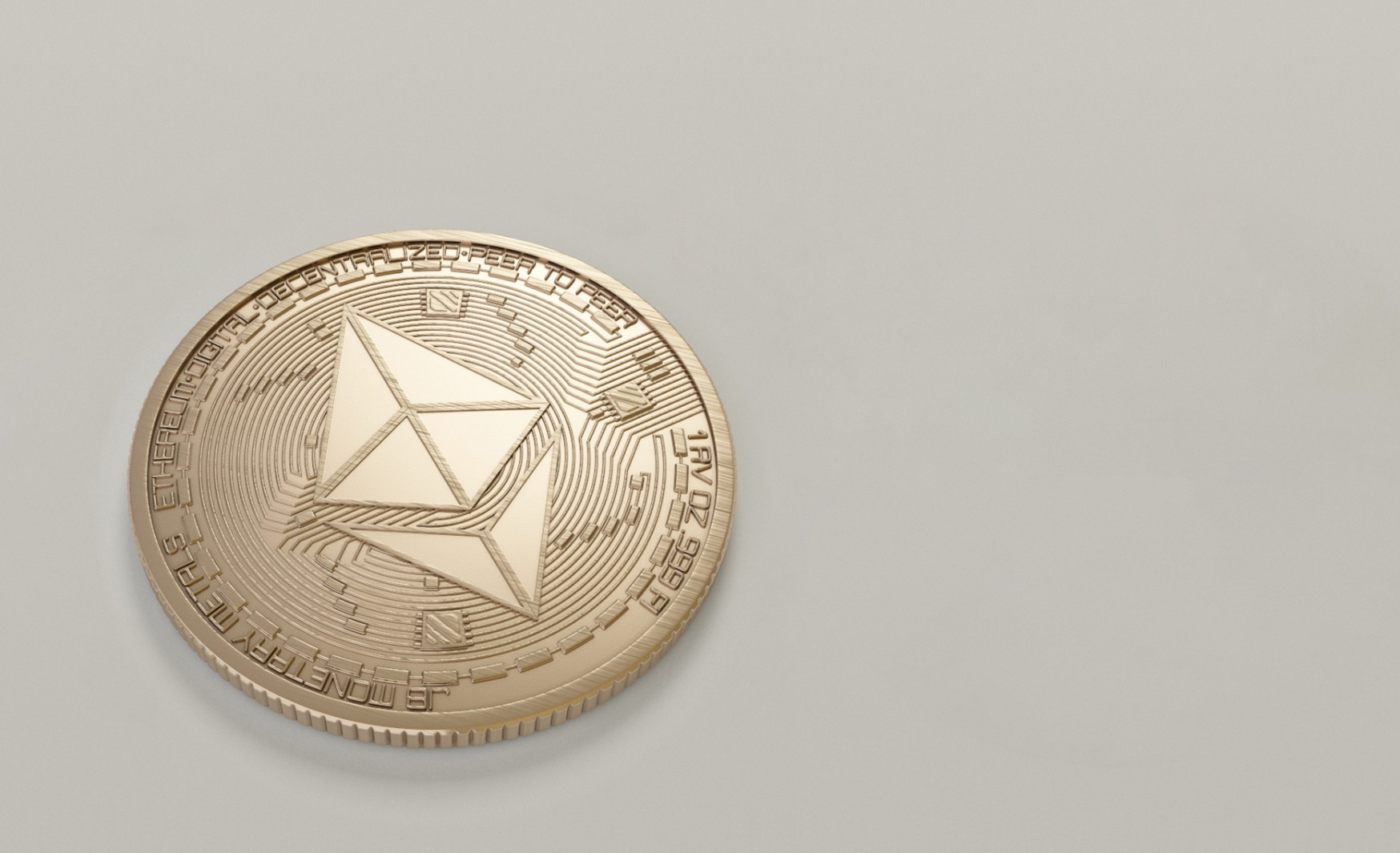 An imagined Ethereum coin on a table