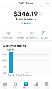 SoFi Money account screenshot
