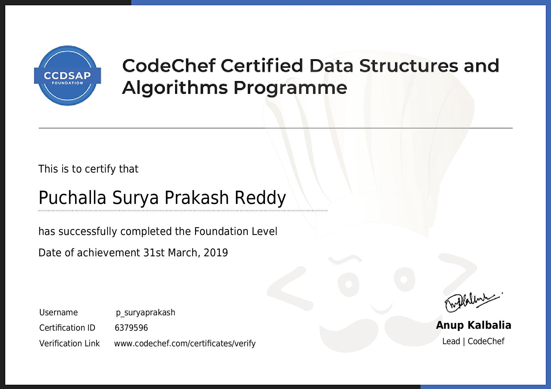 How to clear Codechef's CCDSAP Foundation Exam?? and My