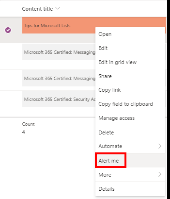 Microsoft Lists Enable alert for a single item