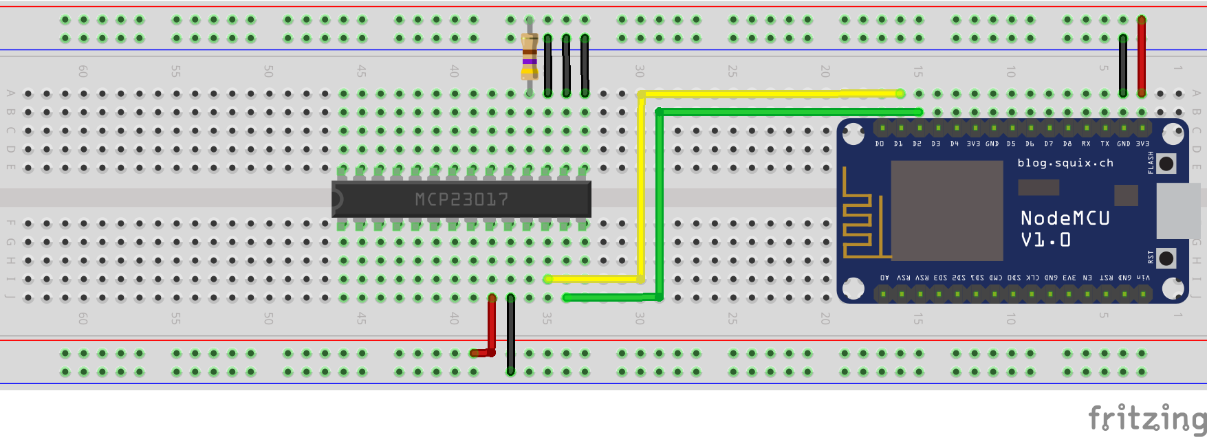 More GPIOs for the ESP8266 with the MCP23017 - Wilko Vehreke