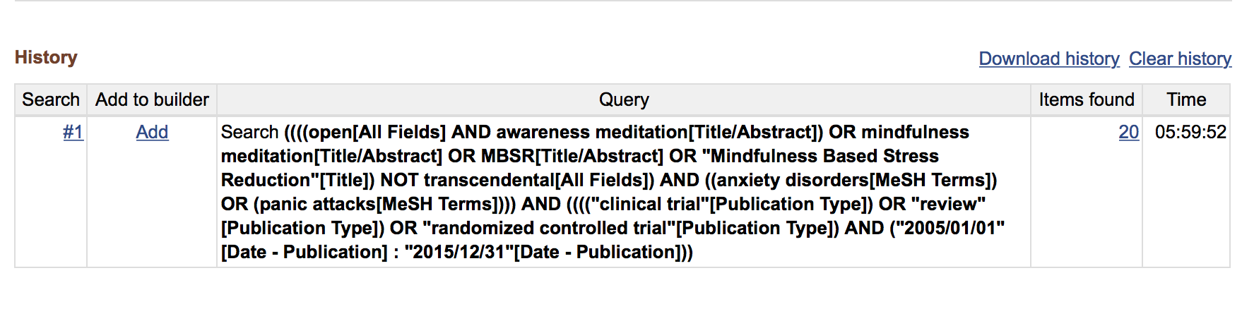 Search History in Pubmed