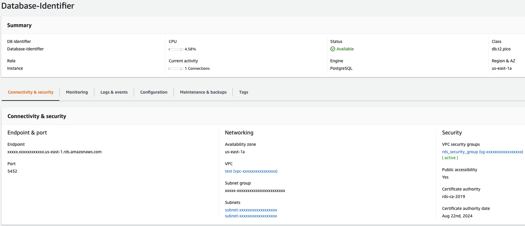 RDS Instance Connectivity And Security Tab in AWS Console