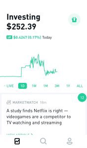 Robinhood app stock summary screenshot