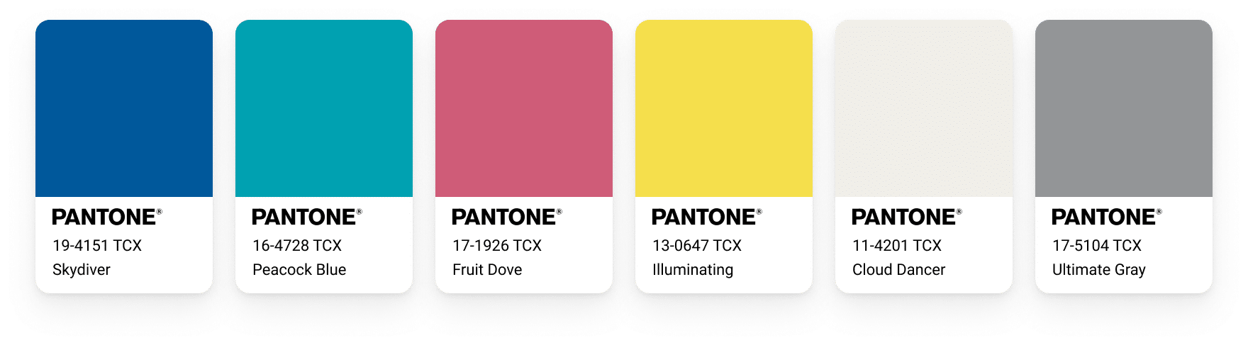 The Aviari Palette including a blue, a turquoise, a redish/pinkish color, the illuminating yellow, the gray and a very light beige color