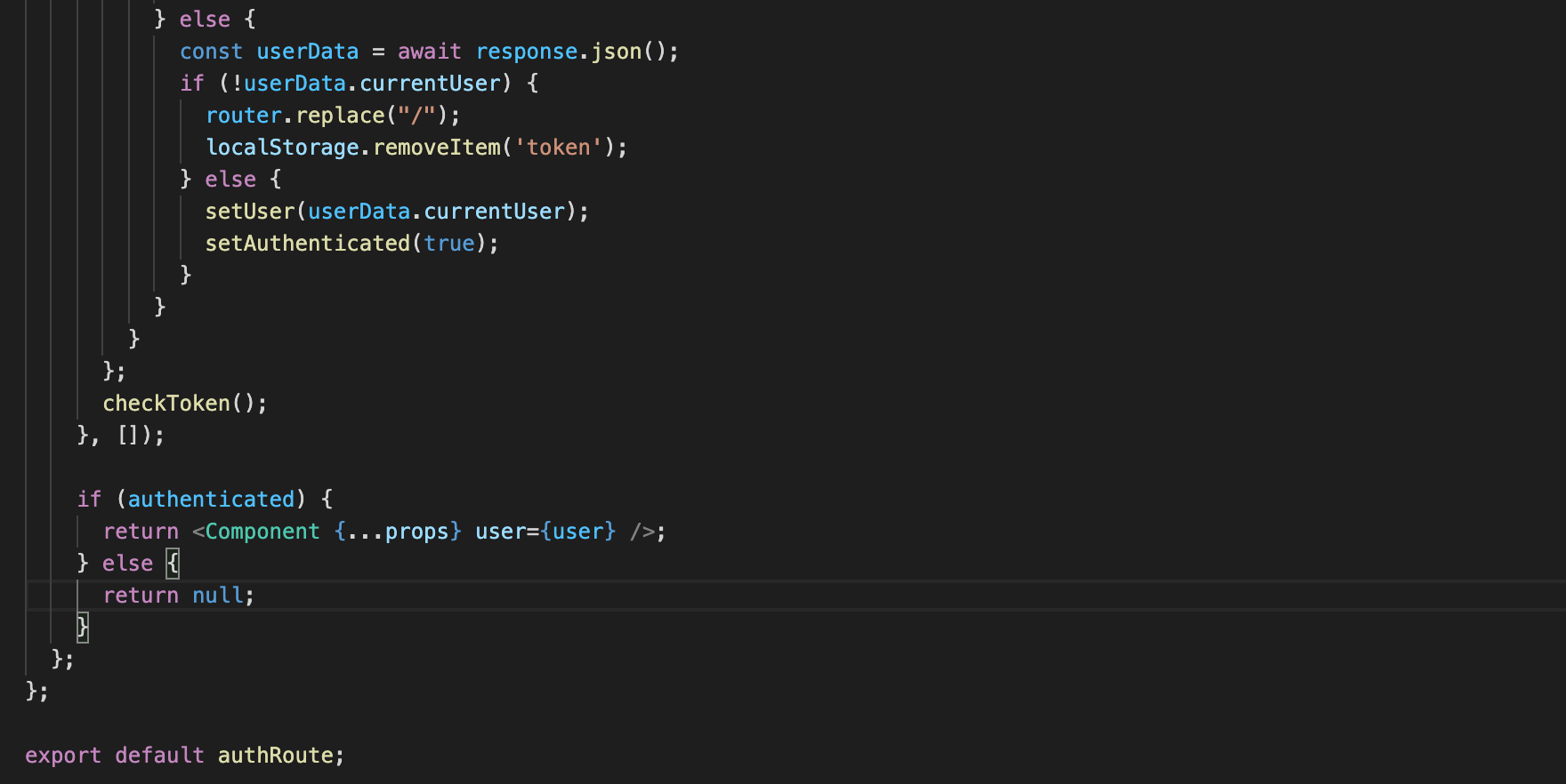 code snippet from authRoute.tsx