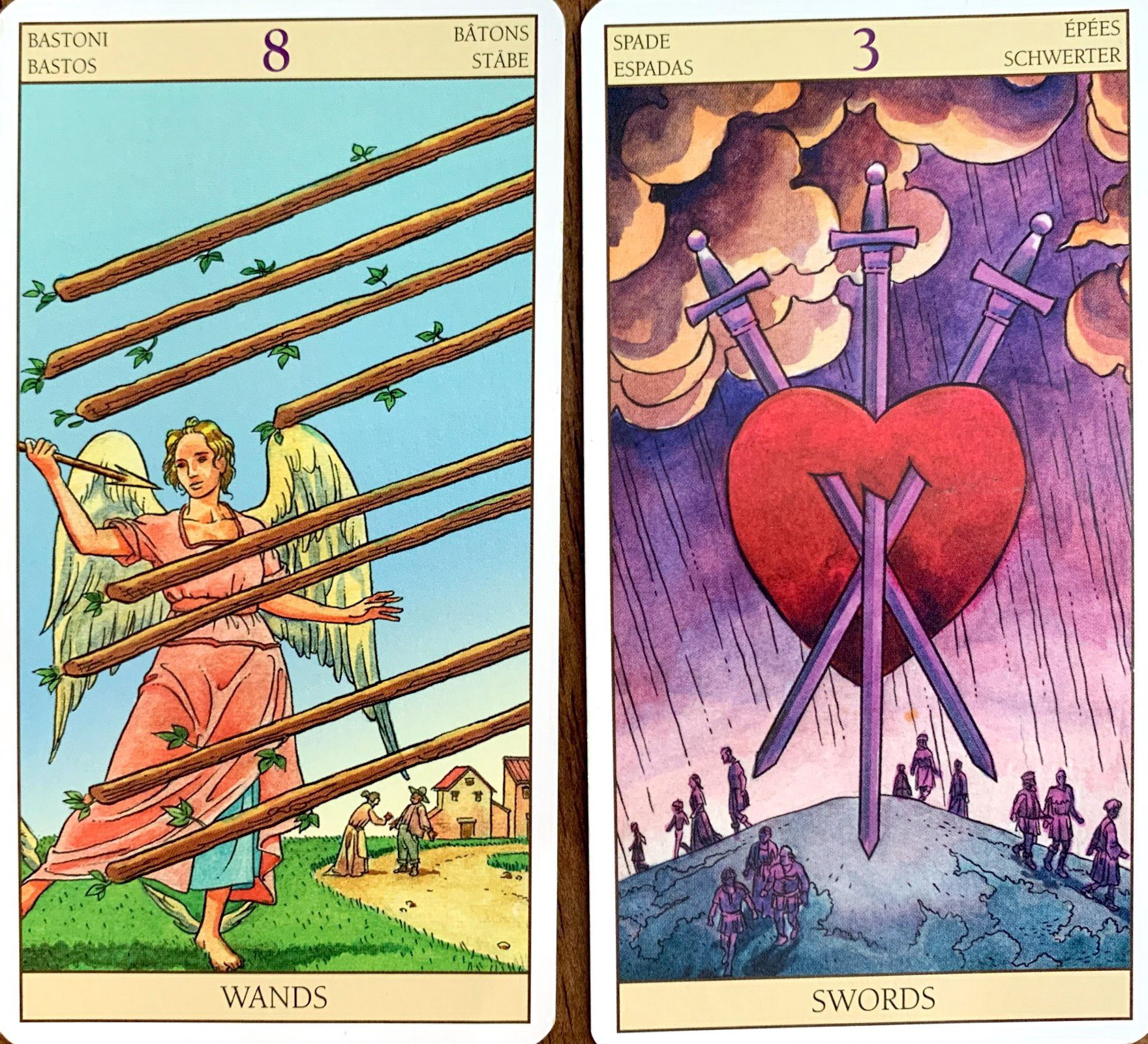 Tarot Combinations Meanings 8 Of Wands 3 Of Swords 5 Of By Heather Cristia Medium If accompanied by the 9 of wands indicate upcoming satisfactions. tarot combinations meanings 8 of