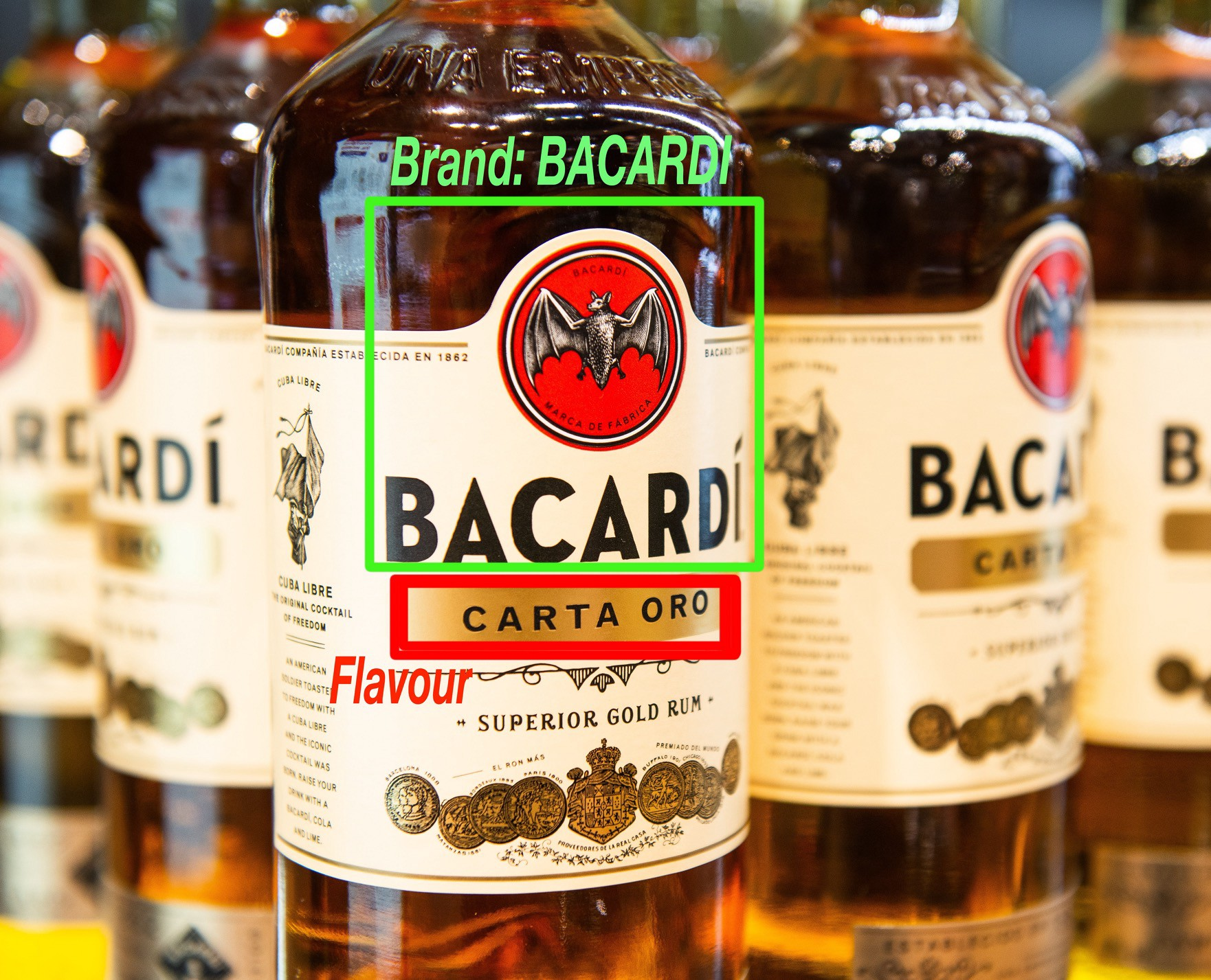 bottles of rum with a bounding box on a brand name