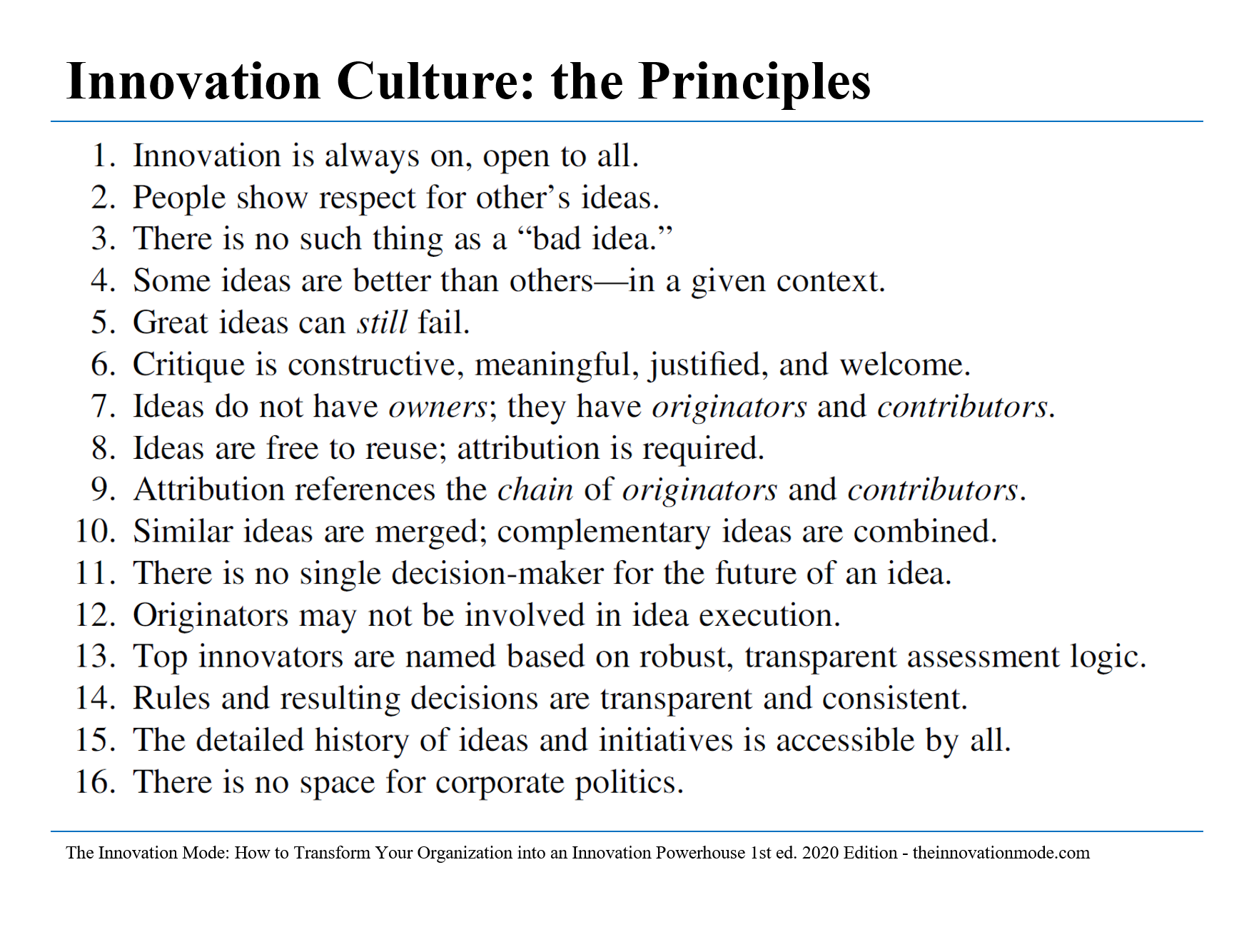 The principles of the Culture of Innovation. The Innovation Mode — Krasadakis