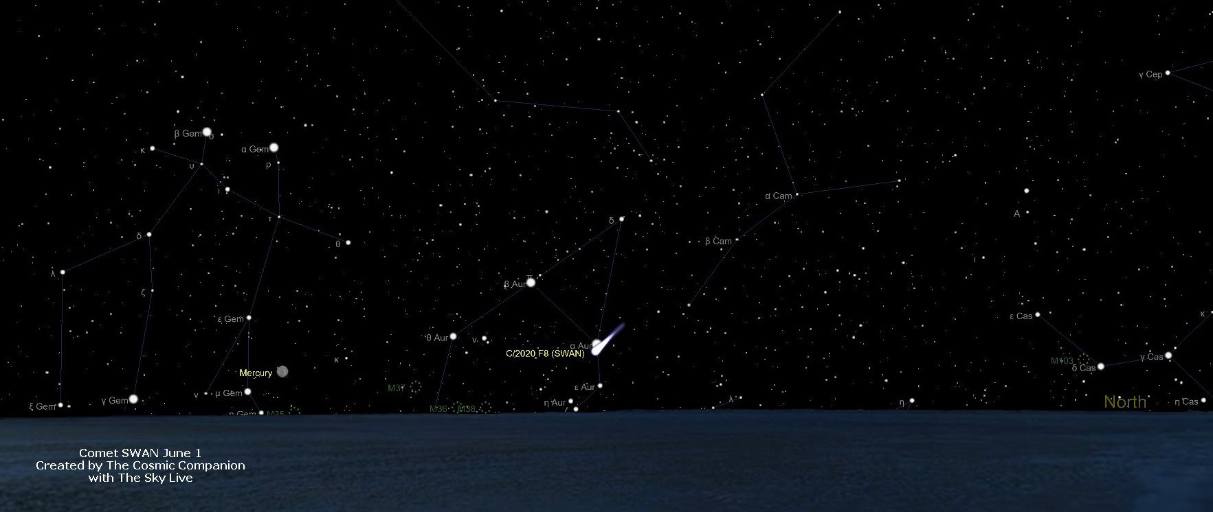 Comet SWAN is shown on a sky map, low on the northwestern horizon.