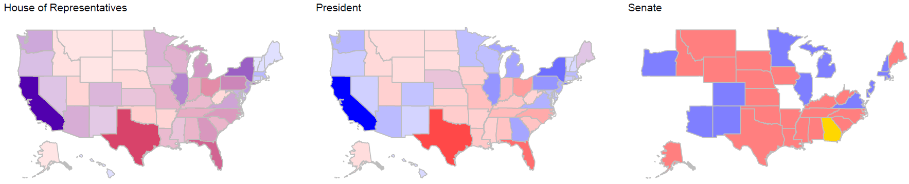 Colored maps showing the results of the 2020 elections for Congress and the President.