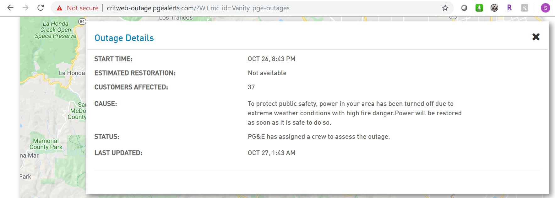 Screenshot from PG&E website stating that power had gone off with no estimate of being re-established