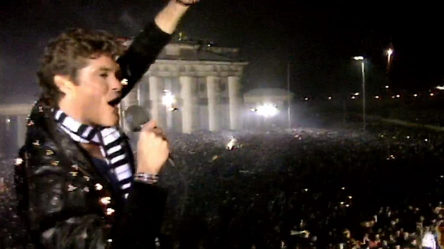 David Hasselhoff on top of the Berlin Wall
