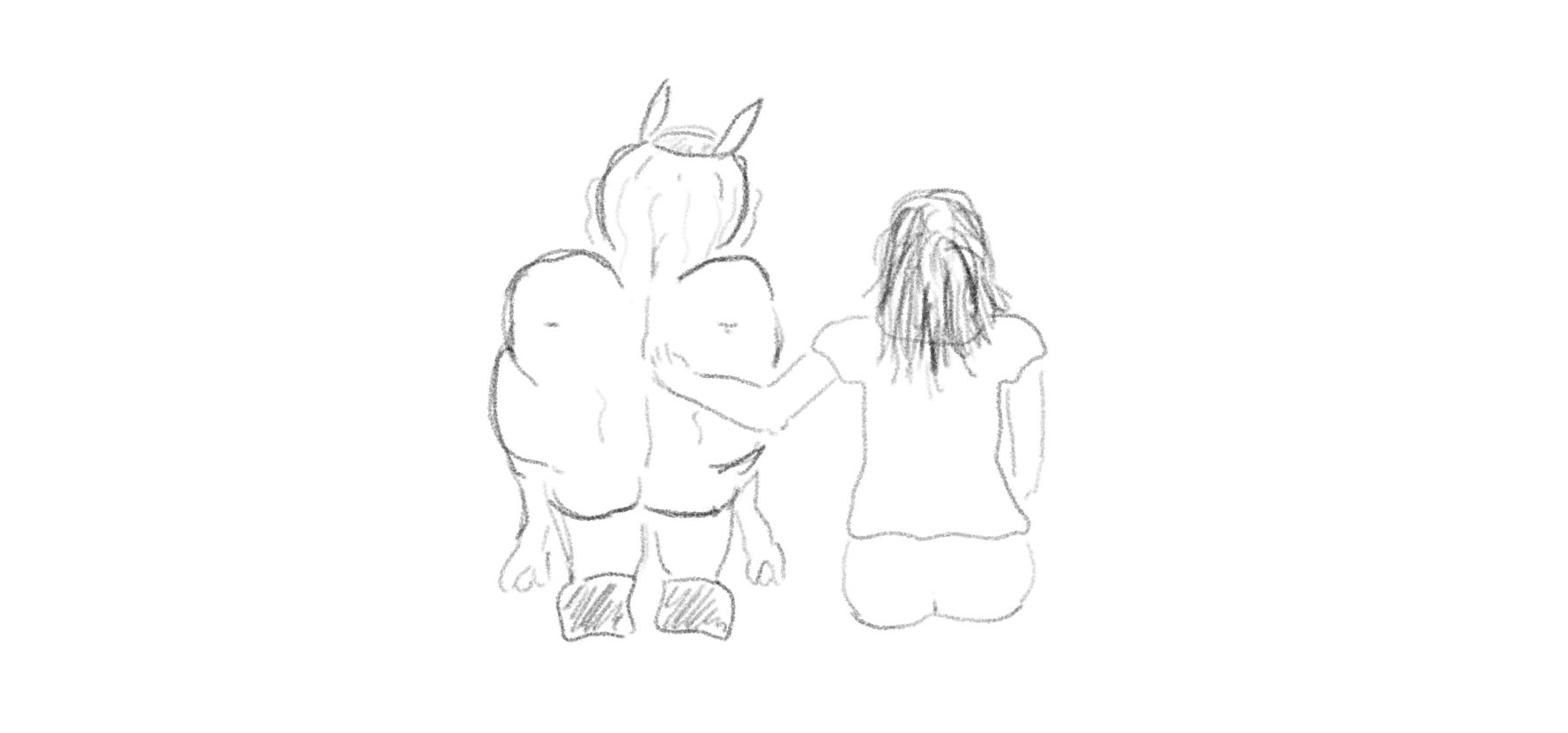 A beast on the left, squatting, and a woman on the right, sitting, with her arm around its back.