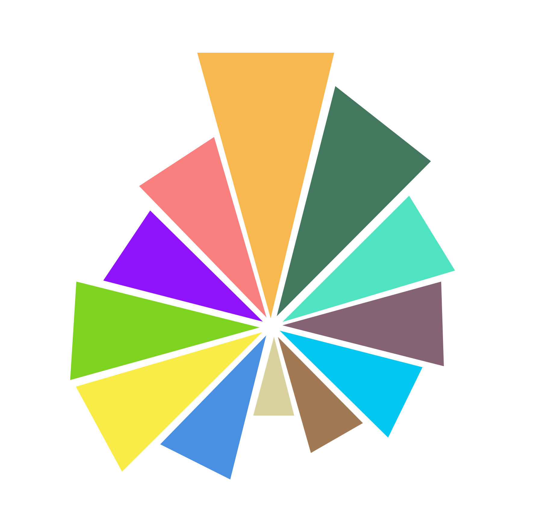 A 12-pointed star with the points pointing to the center. Each section, a different color.