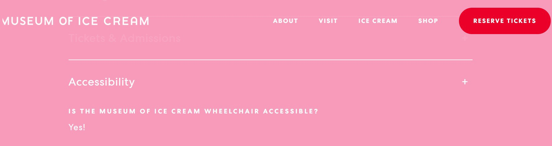 Inaccessible Museum of Ice Cream FAQ page proudly proclaiming its *wheelchair* accessibility