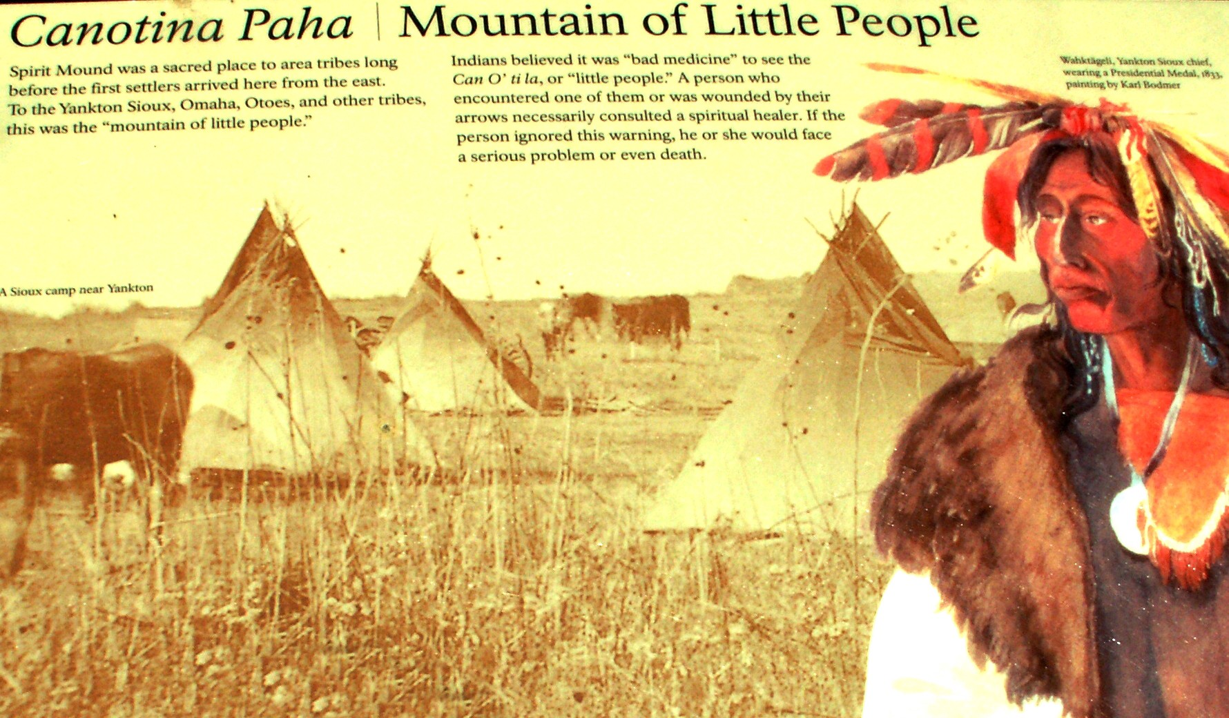 """A sign along the trail at Spirit Mound tells the story of the """"little people"""""""