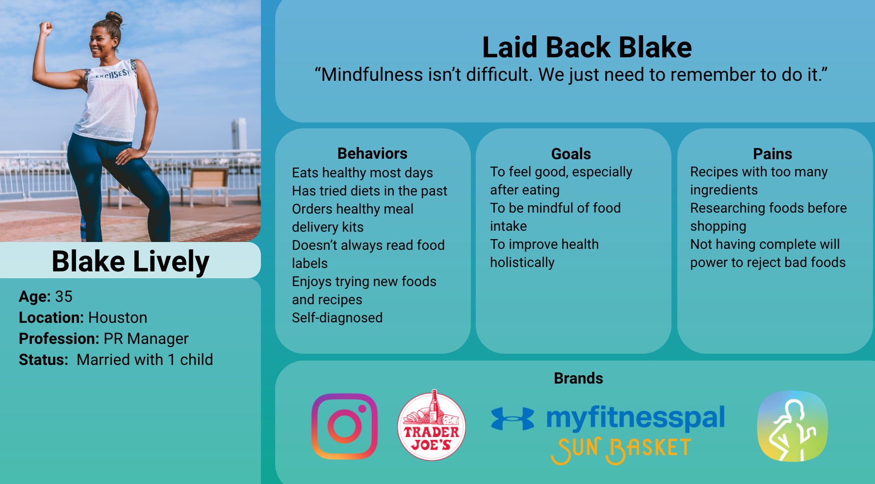 Blake is our secondary user desiring to live a healthy lifestyle