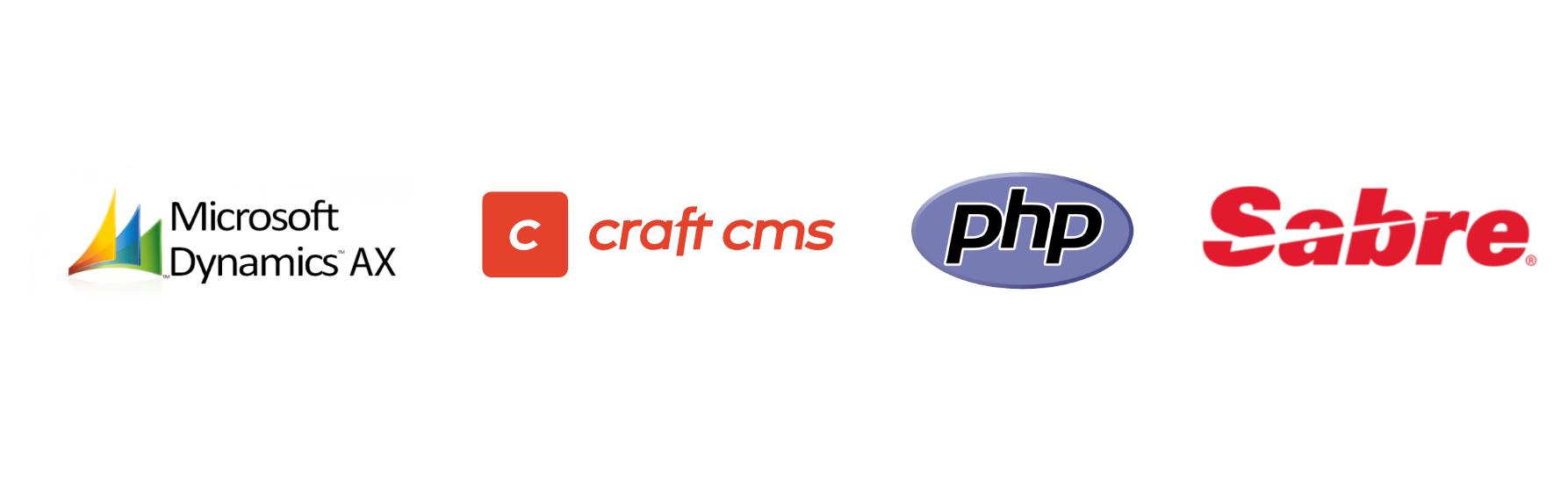 Logos for Microsoft Dynamics AX, Craft CMS, PHP, and Sabre